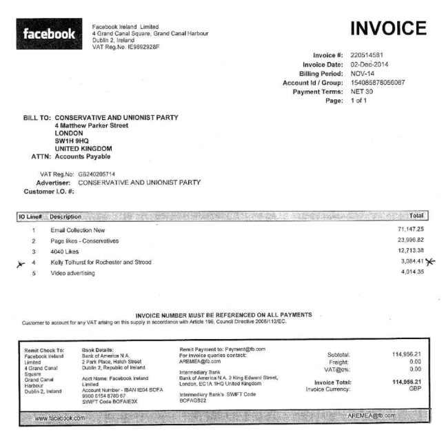 Facebook Invoice