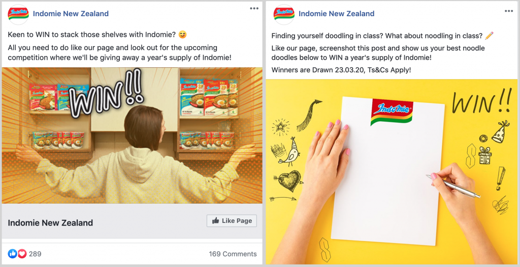 Facebook Engagement Campaign Giveaway and Page Like Campaign for Indomie New Zealand