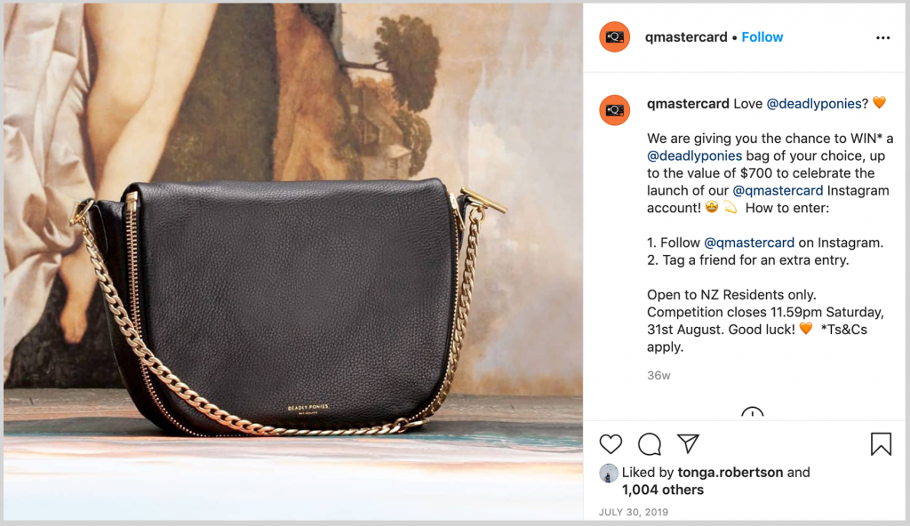 Instagram Giveaway Campaign for Q Mastercard