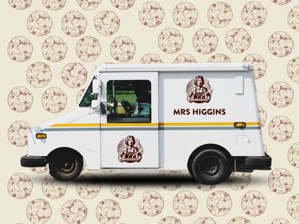 Animated Mrs Higgins truck with cookie background used in all 3 placements