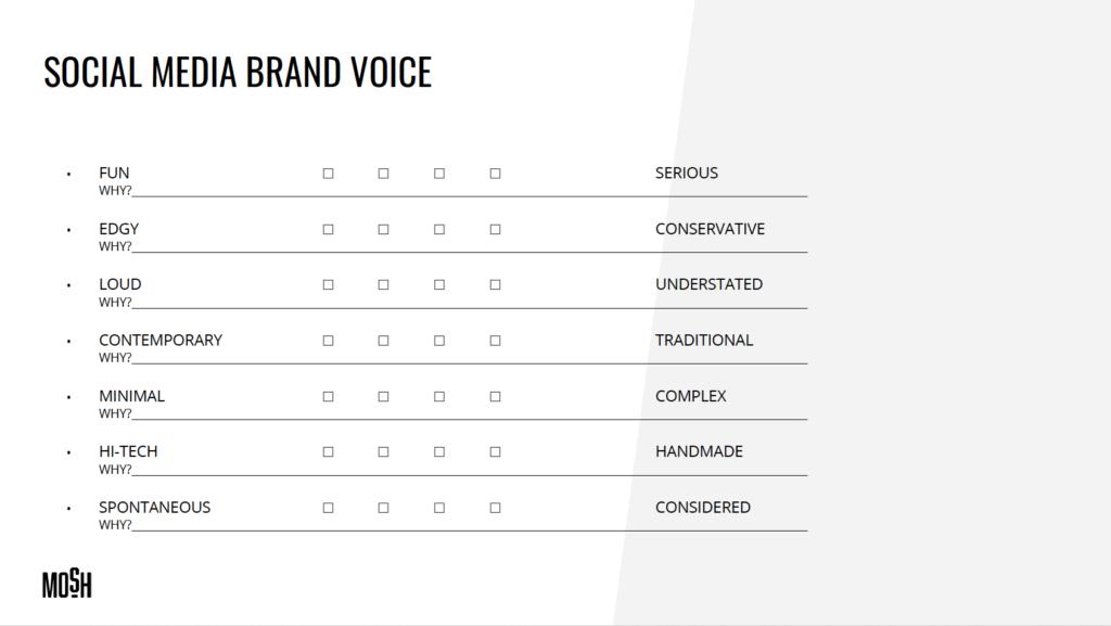 Mosh Social Media Brand Voice Exercise Worksheet.